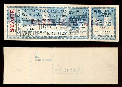 1933 Chicago World's Fair PICCARD COMPTON STRATOSPHERE BALLOON ASCENSION TICKET