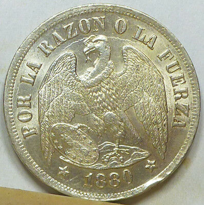 Chile Peso 1880 Brilliant Uncirculated NO RESERVE