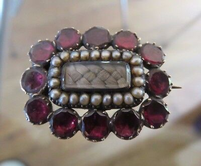 Antique Georgian Almondine Garnet & Pearl Gold Mourning Brooch Pin