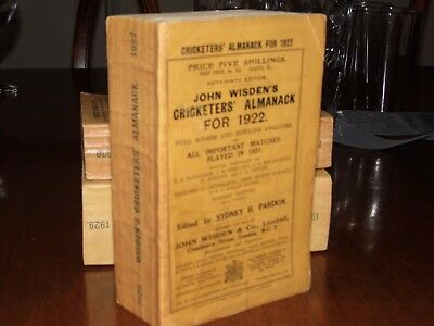 Wisden Cricketers' Almanack 1922  Original Paperback FINE condition.