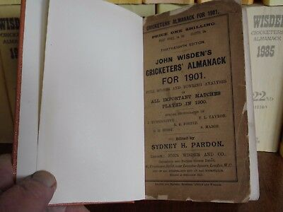 Wisden Cricketers' Almanack 1901 Rebound original paperback V.GOOD.  condition