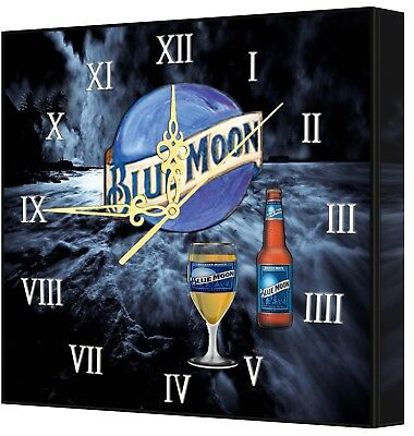 LIGHTED Blue Moon BAR Clock