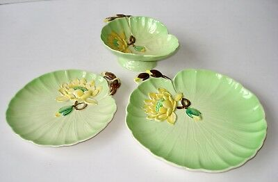 1930's CARLTON WARE WATER LILY PATTERN  - 2 PLATES  & A FOOTED DISH/BOWL