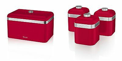 Swan Kitchen Appliance Retro RED Bread Bin & Red Set of 3 Canisters Set
