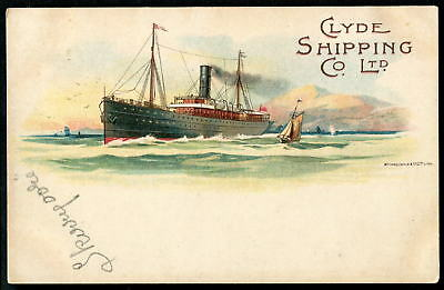 """CLYDE SHIPPING Co. (S.S. """"Skerryvore""""?). Official Co. Publicity art pc. c1900"""