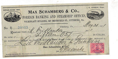 Steamship Railroad Schamberg Receipt with revenue stamp 1901 Pittsburgh PA
