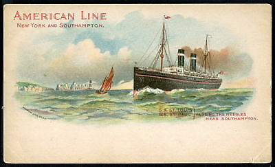 """American Line """"ST LOUIS"""" & """"ST. PAUL"""". Passing the Needles, Isle of Wight c1898"""