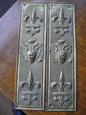 Antique Pair Of Brass Inperial Russian Double Headed Eagle  Fingerplates  Push