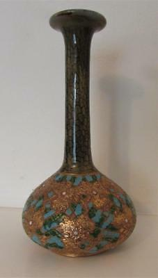 Antique Royal Doulton Slaters Patent Stoneware Vase- Gilded