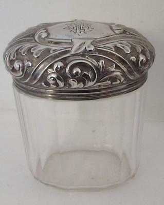 ANTIQUE 19thC SILVER TOPPED GLASS JAR - 1898 HALLMARK -SILVER 29Grams