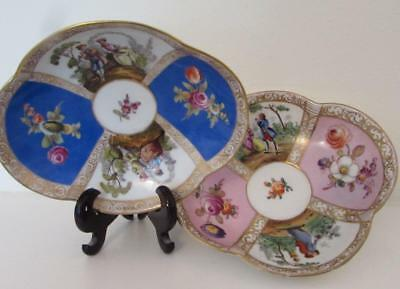 2 no. Antique Helena Wolsohn Dresden Porcelain Dishes /Saucers