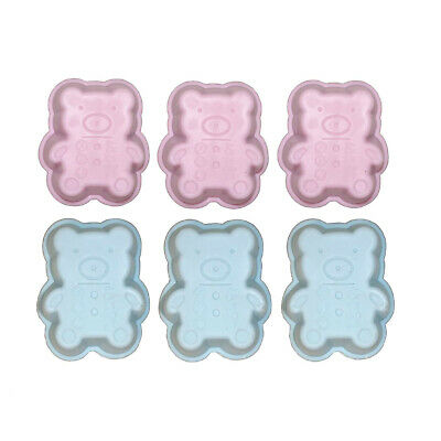 Set of 6 Mini Silicone Baking Pan Bears Pink Blue Cake Pan CupCake Shape Muffin