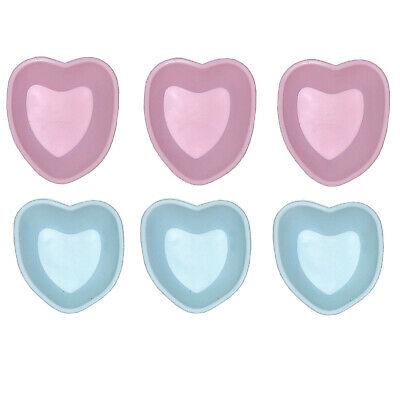Set of 6 Mini Silicone Baking Pan Heart Pink Blue Cake CupCake Shape Muffin Par