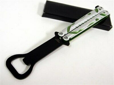 Green Silver Bottle Opener Balisong Butterfly Practice Training Knife Trainer