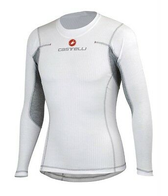Castelli Men Flanders L/S Road Mountain Bike Cycling Base Layer Small White NEW