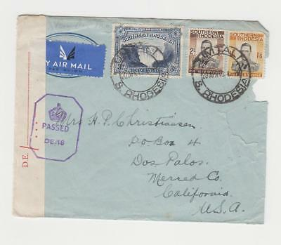 SOUTHERN RHODESIA -USA 1943 CENSOR(DE/18) COVER AIRMAIL, 3sh9d RATE(SEE BELOW