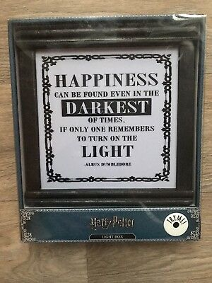 Harry Potter Hogwarts Dumbledore Light Box Picture Light Up Primark BNWT