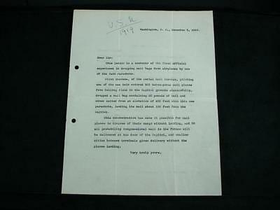 NobleSpirit {3970} Very Rare Letter From First Parachute Mail Experiment in 1919