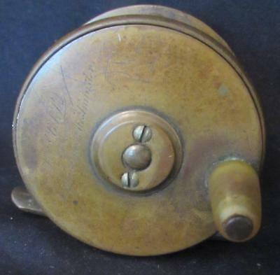 "Superb Antique Army & Navy 2 and 1/4 "" Brass Plate Wind Fishing Reel"