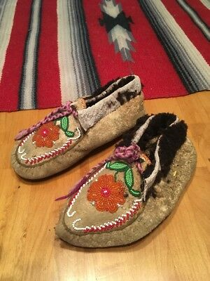 Antique Native American Beaded Moccasins Men's 7 Or Women's 9