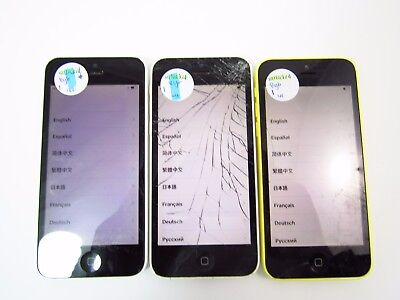 Lot of 3 Cracked Apple iPhone 5c 8GB A1456 Unlocked Check IMEI CR