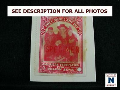 NobleSpirit {3970} Very Rare WWII Relief Stamp Red Ovpt Specimen Arthur Szyk