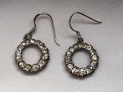 Victorian PAT mark Sterling Silver Paste Circle  Dangling Earring