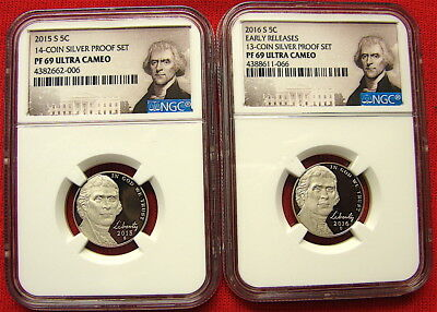 Jefferson Gem Proof Nickels--2015-S & 2016-S---NGC PF 69 Ultra Cameo---Free Ship