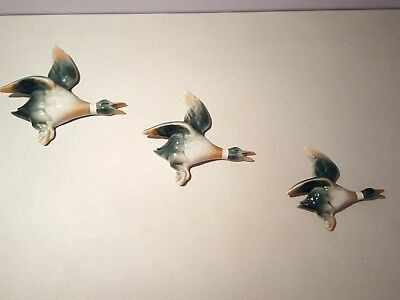 Sylvac Set Of 3 Flying Ducks Ceramic Wall Plaques Mallards Vintage Rare Signed