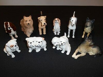 BESWICK DOGS 10 small miniature animal figures Westies Bulldogs Dalmatian German