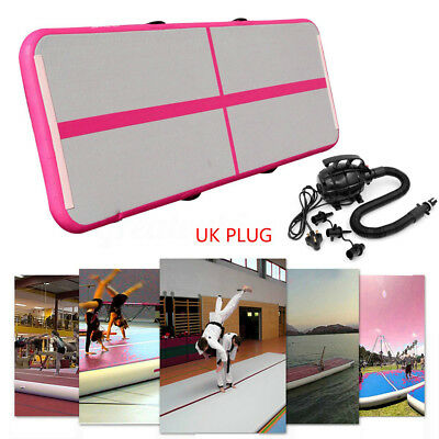 Air Track Home Floor Gymnastics Tumbling Mat Inflatable Pad with UK Plug Pump