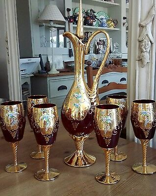 Vintage Bohemia, Moser?  Ruby Crystal Decanter & 6 Glasses Overlaid In Gold