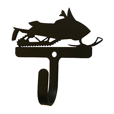 Snowmobile Wall Mount Coat Hook Wrought Iron Rustic Winter Cabin Decor