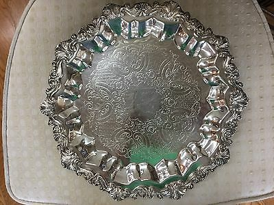 Round Sheridan Silver Serving Platter Tray Dish Etched Floral Leaf Design 3 Claw