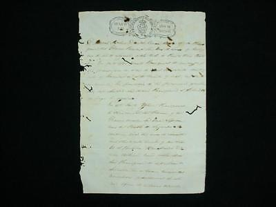 NobleSpirit {3970} Rare Puerto Rico 1843 Government Document Signed & Stamped