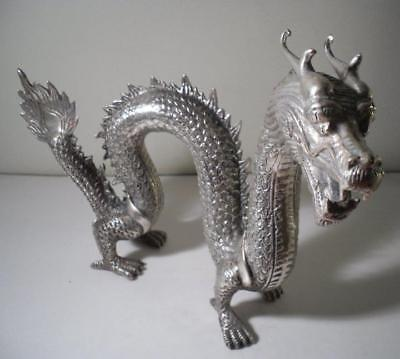 A Large Free Standing Silver Plated Chinese Dragon : c1910