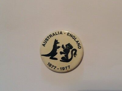 VINTAGE CRICKET BADGE ~ 1977 CENTENARY TEST ~  Australia v England ~ THE ASHES