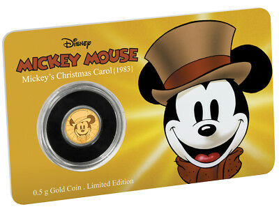 Niue Islands 2,5 Dollar Disney: Mickey - Christmas Carol, 1/62 Oz Gold, 2017,