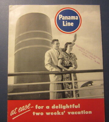 Old 1948 - PANAMA LINE - Steamship Brochure / Booklet with Deck Plans