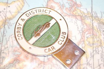Vintage Corby & District Car Club art deco style car badge