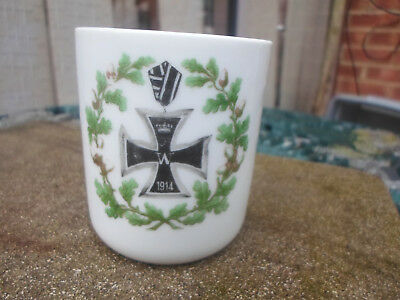 German 1914 WW1 Patriotic Small Cup with Iron Cross and Oak Leaf Garland