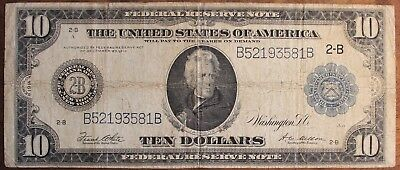 1914 Ten Dollar Federal Reserve Note New York Large US Currency $10.00 Bill