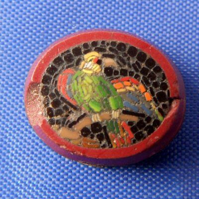 Stunning Georgian Antique Parrot Micro Mosaic Panel For Brooch