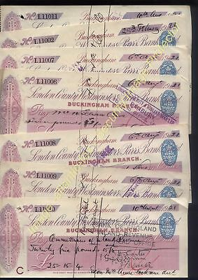 1921 LONDON COUNTY WESTMINSTER & PARRS BANK LTD, Buckingham. 8 used cheques