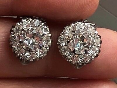 Victorian PAT mark Sterling Silver Paste Cluster Clip On  Earring