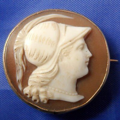 Stunning 9Ct Carved Shell Cameo Brooch Hera