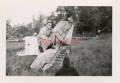 WWII photo- US GI Poses on German BOMBER / FIGHTER plane WRECK- France- 2