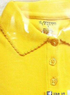 School Uniform Girls 5 L/S Polo Gold French Toast Picot Collar Shirt New