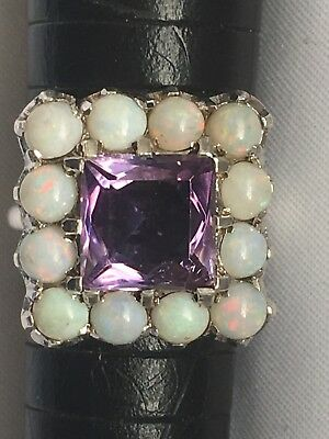 Unusual Theodor fahrner Sterling Silver Opal And Amethyst Art Deco Ring -uk L