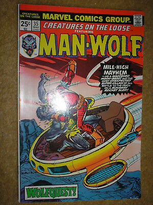 CREATURES ON THE LOOSE # 35 MAN-WOLF KANE PEREZ 25c BRONZE AGE MARVEL COMIC BOOK